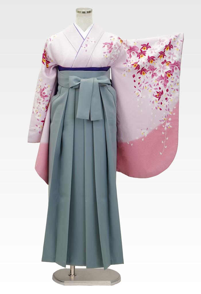 【着物】ピンクラン柄エバ+【袴】ホワイトグレー