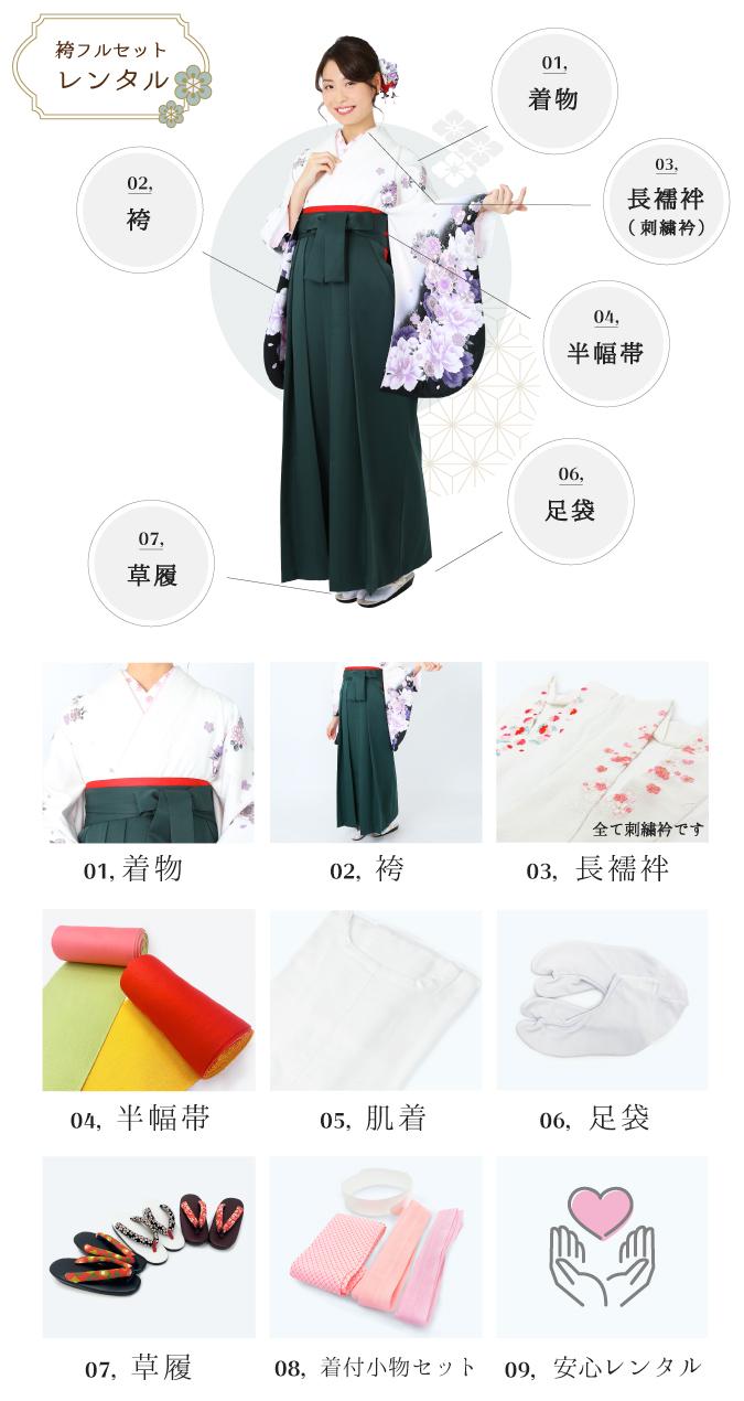 卒業式袴をフルセットレンタル